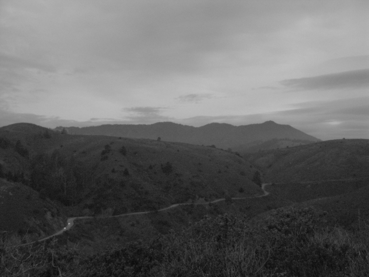 Highway 1 and Mt Tam grey morning